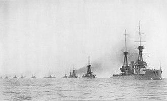 Home Fleet - HMS Neptune leading the Home Fleet before the First World War