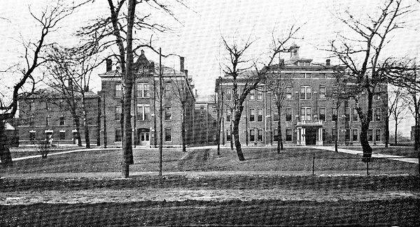 Black and white photograph of the military hospital