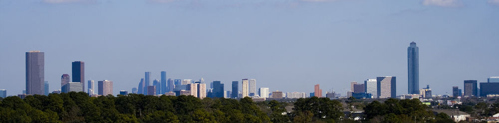 Skyline de Uptown Houston, con Downtown en la distancia
