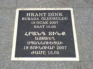Assassination of Hrant Dink - Commemorative plaque for Hrant Dink