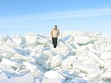 процесс образования торосов в результате сжатия льдов: