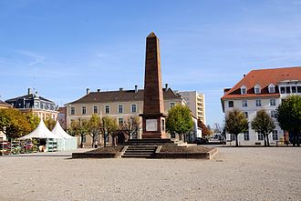 Jean Charles Abbatucci - Place Abbatucci in Hüningen, showing the obelisk monument to the general.