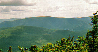 Hunter Mountain (New York) - Hunter Mountain from Black Dome to the north. Ski trails visible at right.