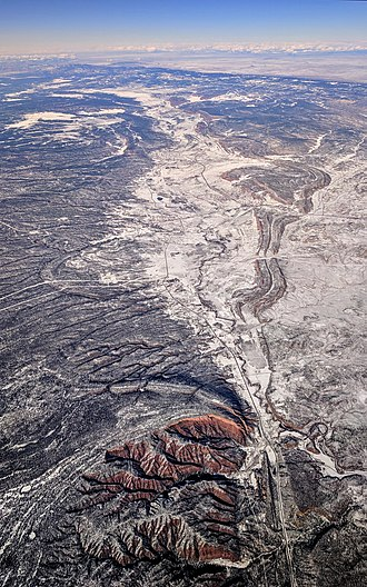 Black Creek (Arizona) - Aerial view with Black Creek flowing south through St. Michaels near the Window Rock Airport, near the top in the snowy area, through Hunters Point, near the bottom, along Indian Route 12