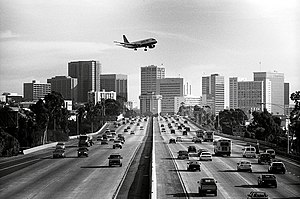 A view of a plane flying into San Diego over I...