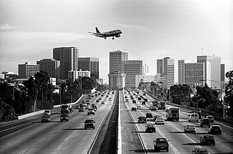 Interstate 5 in California - The 5 Freeway looking south toward downtown San Diego in January 2002