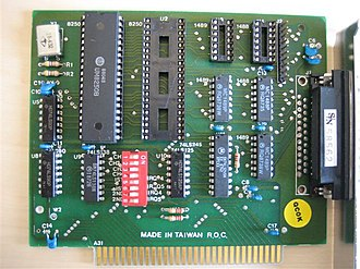 Serial port - IBM PC Serial Card with a 25-pin connector (obsolete 8-bit ISA card)