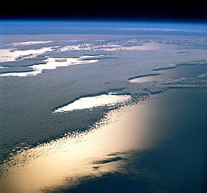 STS-38 - Sunlight on the ocean.