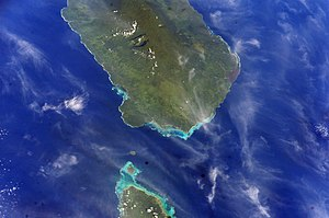 Mulifanua - Satellite image showing the Apolima Strait between Savai'i (top of photo) and Upolu with tiny Apolima and Manono islands between them. (NASA photo)