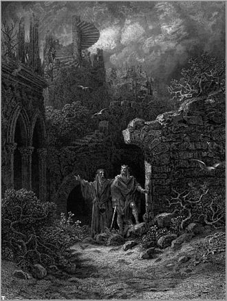 Idylls of the King - Yniol shows Prince Geraint his ruined castle in Gustave Doré's illustration