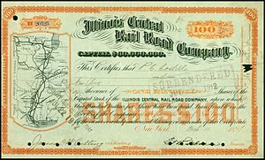 Illinois Central Railroad - Illinois Central Rail Road share, issued 1899