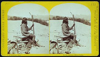 Wheeler Survey - Stereophoto from the 1871 expedition. Photo of Malman, a Mohave Indian, by Timothy H. O'Sullivan