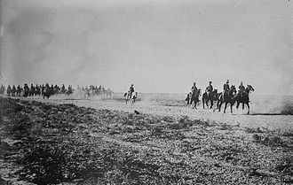 Battle of Es Sinn - Indian Cavalry advancing in the Mesopotamian desert near the Tigris River.