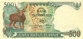 Javan rusa - The Javan rusa is featured on the 500-rupiah banknote.