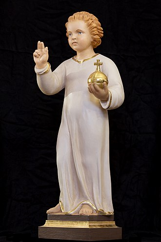 Infant Jesus of Prague - Then vicariate replica copy of the Infant Jesus of Prague in its bare format.