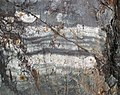 Interbedded graywacke-siltstone-slate (Mud Lake sequence, Neoarchean; Bourgin Road roadcut, Virginia, Minnesota, USA) 3 (22878917114).jpg