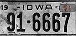 Iowa 1951 license plate - Number 91-6667.jpg