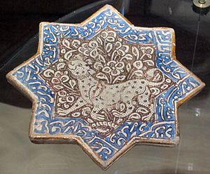 Persian art - Star-tile, Kashan, 13-14th century