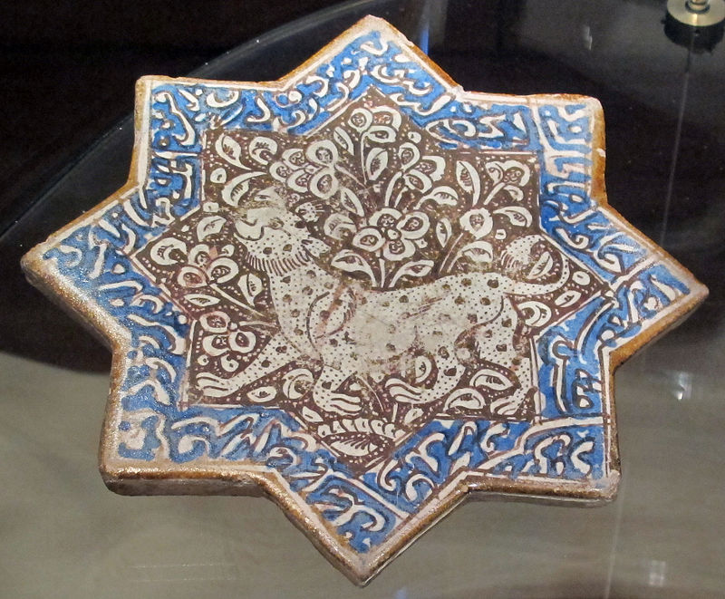 Iran, kashan, mattonella per decorazione parietale, XIII-XIV sec. 03.JPG