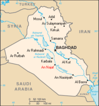 The location of Najaf (printed in red) within Iraq.