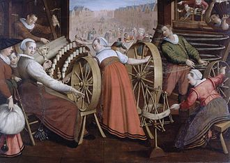 Spinning (textiles) - 1595 painting illustrating Leiden textile workers