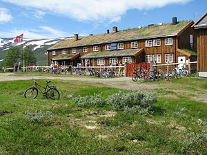 """Trollheimen - Jøldalshytta, one of several manned (in season) lodges. July 5, 2008 was the annual """"Mountain Day"""" at the start of summer season."""