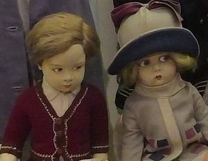 Lenci doll - Lenci Boy and girl dolls sitting together at the Judges' Lodgings, Lancaster