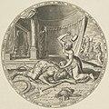 Jaël vermoordt de slapende Sisera die toevlucht heeft gezocht in haar tent. Met een hamer slaat ze een tentpin dwars door zijn hoofd. Door de tentopening is te zien hoe Jaël Barak bericht va, NL-HlmNHA 53008040.JPG