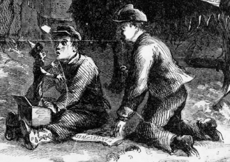 Jack-in-the-box - Two boys playing with a jack-in-the-box in an 1863 illustration
