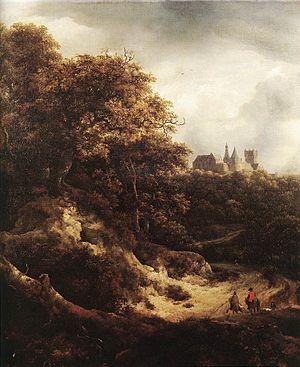 Nicolaes Pieterszoon Berchem - A View of Burg Bentheim (1651) by Jacob van Ruisdael
