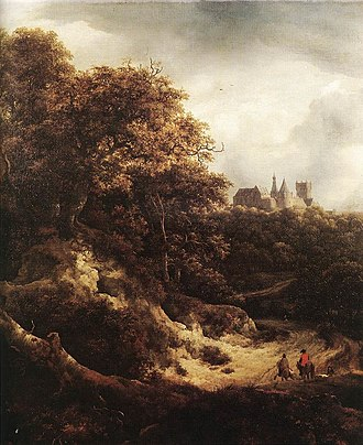 Nicolaes Pieterszoon Berchem - A View of Burg Bentheim (1651) by Jacob van Ruisdael