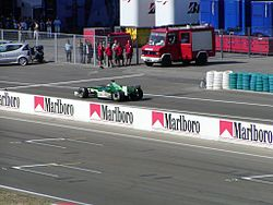 Jaguar leaving pits at the 2003 Hungarian Grand Prix.jpg