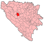Map of Bosnia and Herzegovina highlighting the town or municipality location
