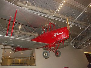 Aerial topdressing - James Aviation Tiger Moth at Te Papa—National Museum of New Zealand.