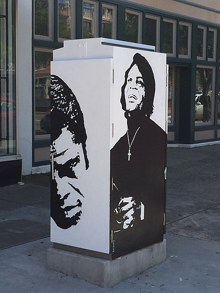 This traffic box public art was commissioned to be painted in tribute to Brown in 2015. Ms. Robbie Pitts Bellamy is the artist. James Brown Tribute Box.jpg