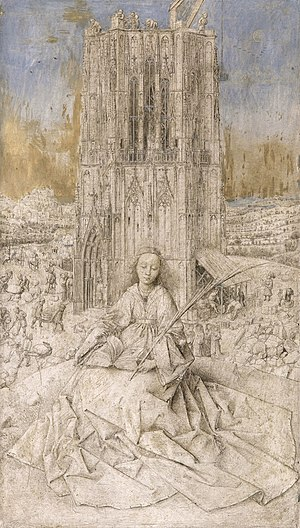 Saint Barbara (van Eyck) - Saint Barbara, 1437. Oak panel, 41.4 × 27.8 cm. Royal Museum of Fine Arts Antwerp, Belgium