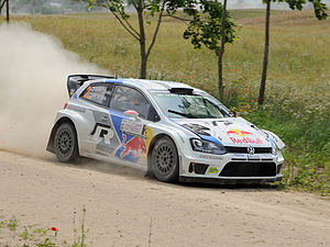 Jari-Matti Latvala and co-driver Miika Anttila during the 2014 Rally Poland.