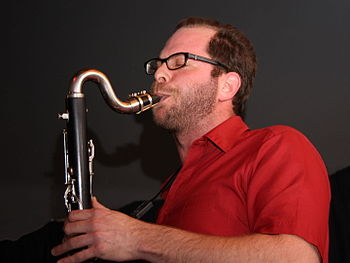 English: Jason Stein (bass clarinett) with Loc...