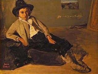 Jeune italien assis dans la chambre de Corot à Rome