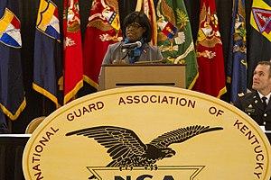Jenean Hampton - Hampton speaking to members of the Kentucky National Guard in February 2016