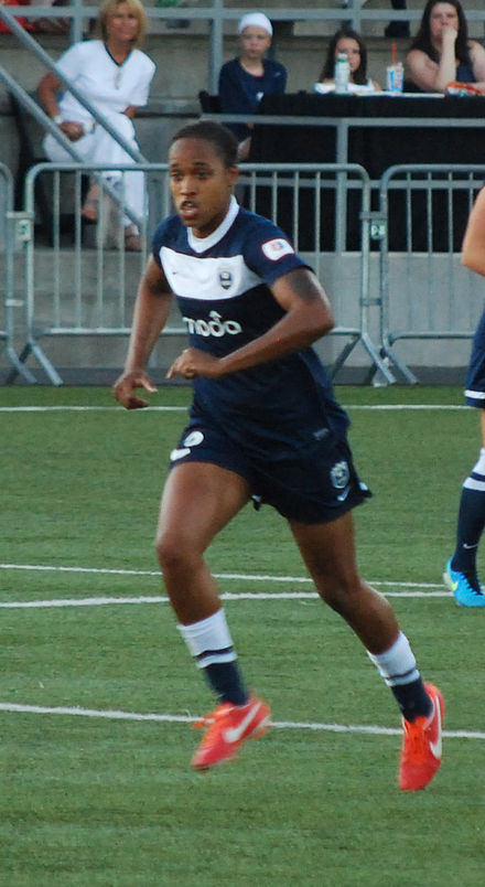 McDonald during a Seattle Reign FC match on July 25, 2013 Jessica McDonald Reign FC 2013.jpg