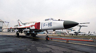 Shenyang J-8 - Shenyang F-8II, armed with air-to-air missiles and six bombs on a centreline tri-rack.