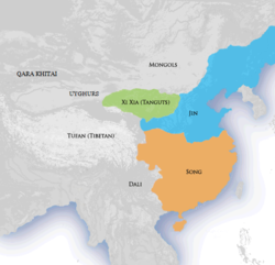Location of Jin dynasty (blue), c. 1141
