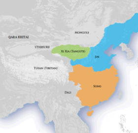Map of China in 1141 with Jin dynasty controlling the north and Southern Song dynasty controlling the south