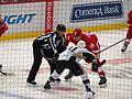 Joakim Andersson and Kevin Porter Faceoff, Pittsburgh Penguins, Joe Louis Arena, Detroit, Michigan (21677443576).jpg