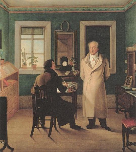 File:Johann Joseph Schmeller - Goethe seinem Schreiber John diktierend, 1831.jpg