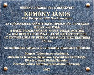 John G. Kemeny - Commemorative plaque to John George Kemeny. It is affixed to the wall of his former domicile.