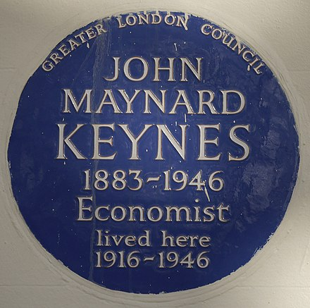 Blue plaque, 46 Gordon Square John Maynard Keynes 46 Gordon Square blue plaque.jpg