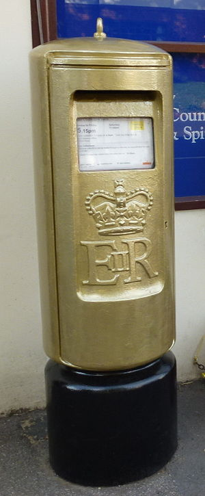 Doddington, Cambridgeshire - Jonnie Peacock's golden postbox in Doddington