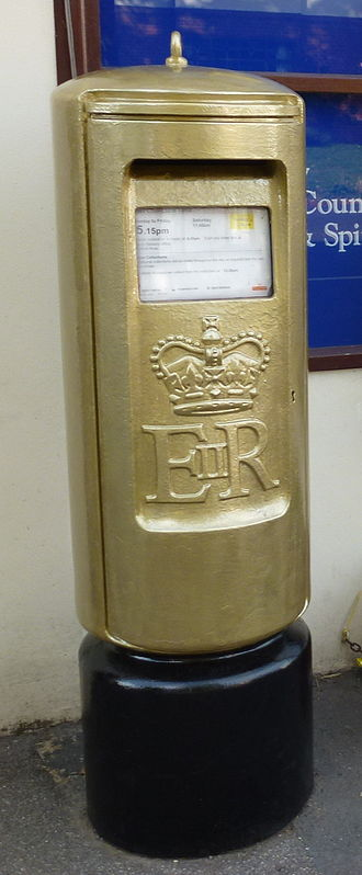 Jonnie Peacock - Peacock's gold postbox in Doddington, Cambridgeshire